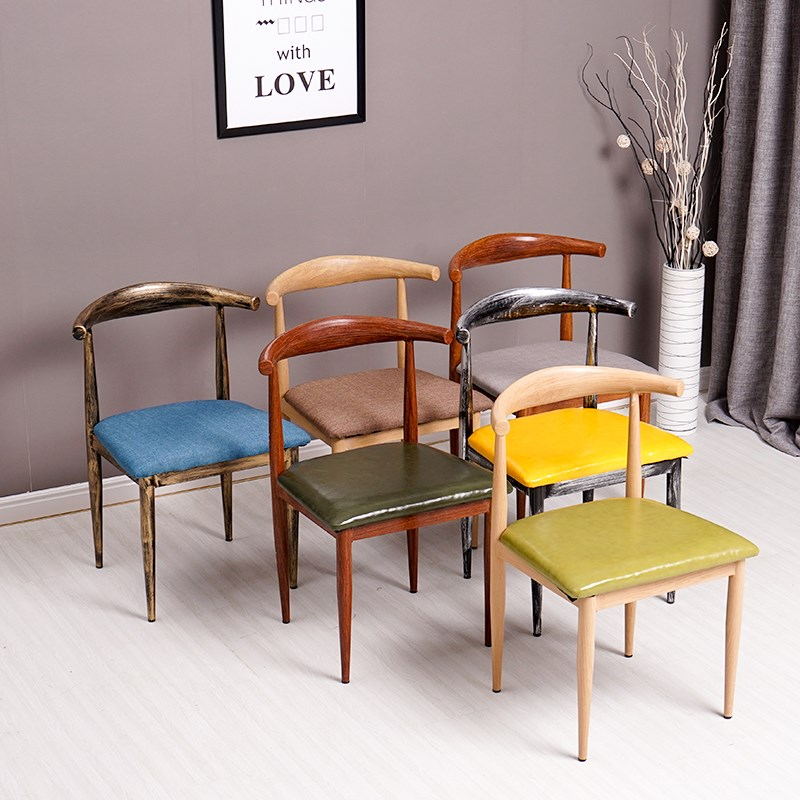 铁艺牛角椅子仿实木西餐厅咖啡厅桌椅简约餐椅奶茶甜品店桌椅组合