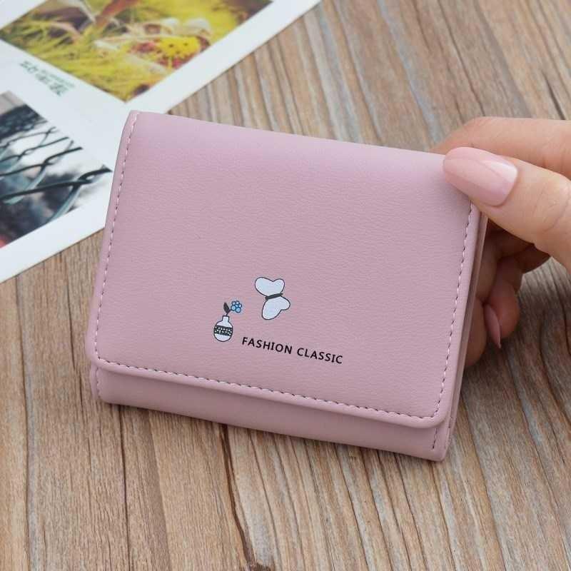 Mini aixiao fresh and simple female short Korean student lady wallet three fold change folder wallet thin