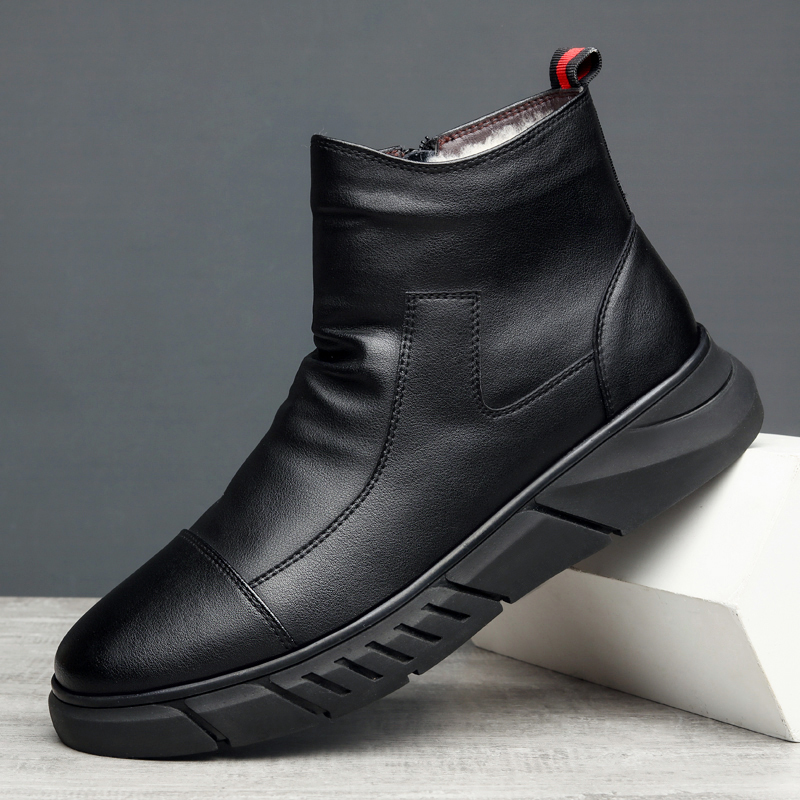 2020 new cotton shoes mens leather cotton boots Plush medium high top leather shoes winter mens boots wool thick soled warm cotton shoes