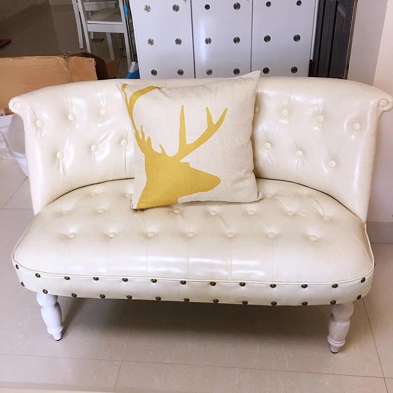 欧式复古布艺小沙发网红款迷你双人三人小户型卧室服装店沙发椅子(非品牌)
