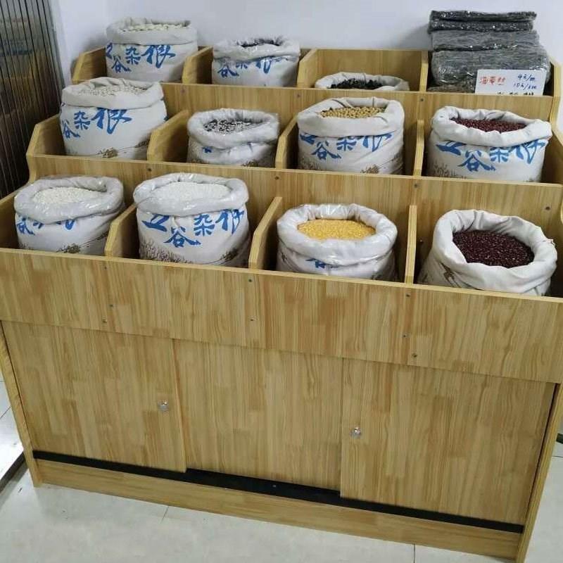 超市货架粮食五谷杂粮木质展示柜便利店桶米粮桶粮油米面散装