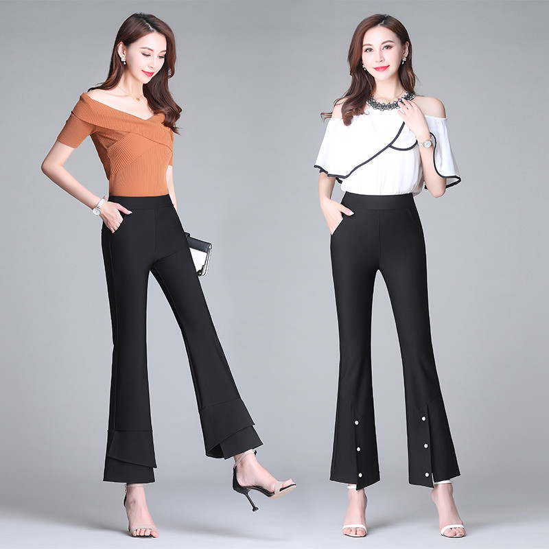Flared pants womens Capris high waist micro flared pants new style in spring and summer show thin and drooping feeling suit pants popular this year