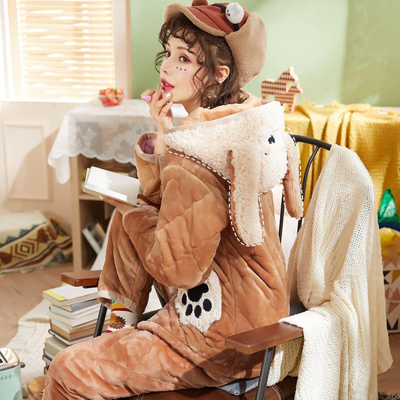 睡衣女冬季加厚保暖三层夹棉可爱卡通连帽珊瑚绒法兰绒秋冬家居服有赠品