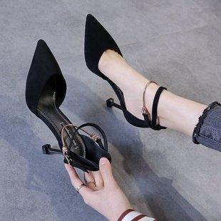 2中空一字扣高跟鞋女士细跟2020新款猫跟春凉鞋包头性感单鞋尖头
