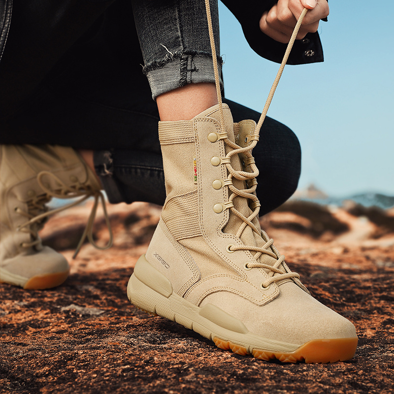 Outdoor desert boots womens anti slip wear resistant high top camouflage climbing shoes mens sports hiking boots womens