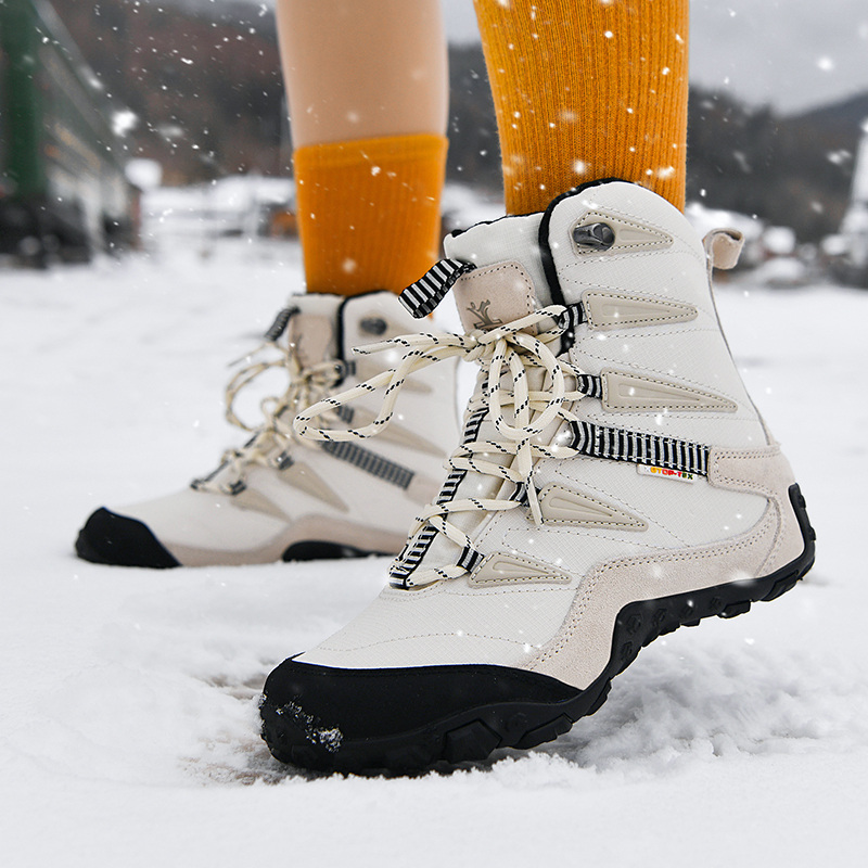 Explore outdoor snow boots womens antiskid winter Plush warm thickened northeast cotton shoes waterproof ski shoes womens Boots