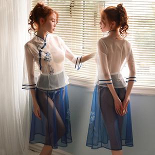 昊光性感透视装高开叉长款刺绣内衣