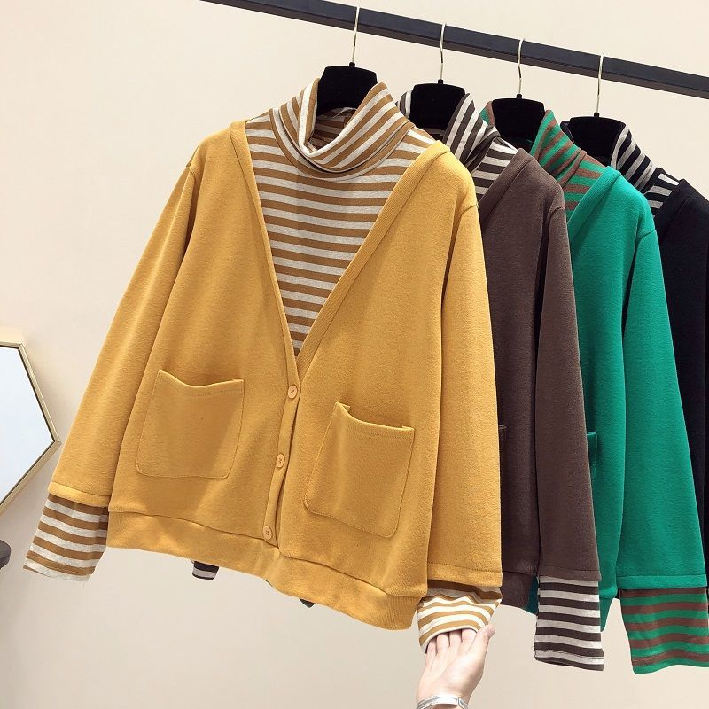 D fake two-piece coat womens 2021 spring and Autumn New Korean loose and versatile fashion sweater STRIPE TOP