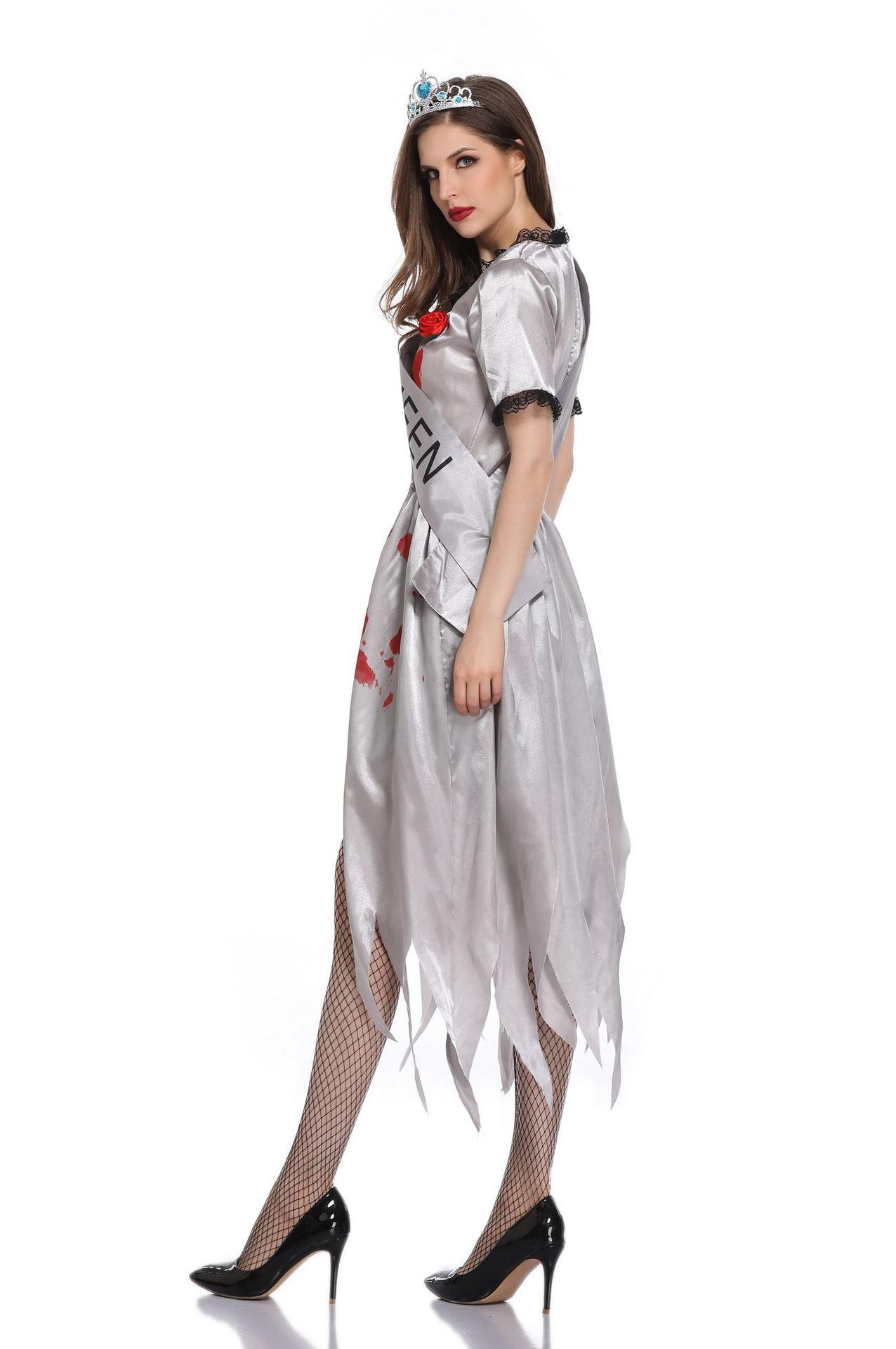 ハロウィンの鬼の花嫁ゾンビの吸血鬼コスプレ化粧パーティーの舞台の個性的な奇妙な服