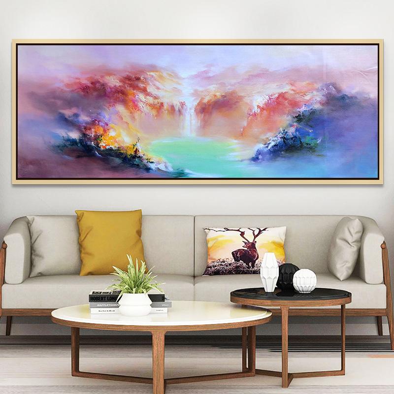 酒店會議室抽象裝飾畫風景畫牧庭純手繪油畫美式掛畫歐式客廳壁畫