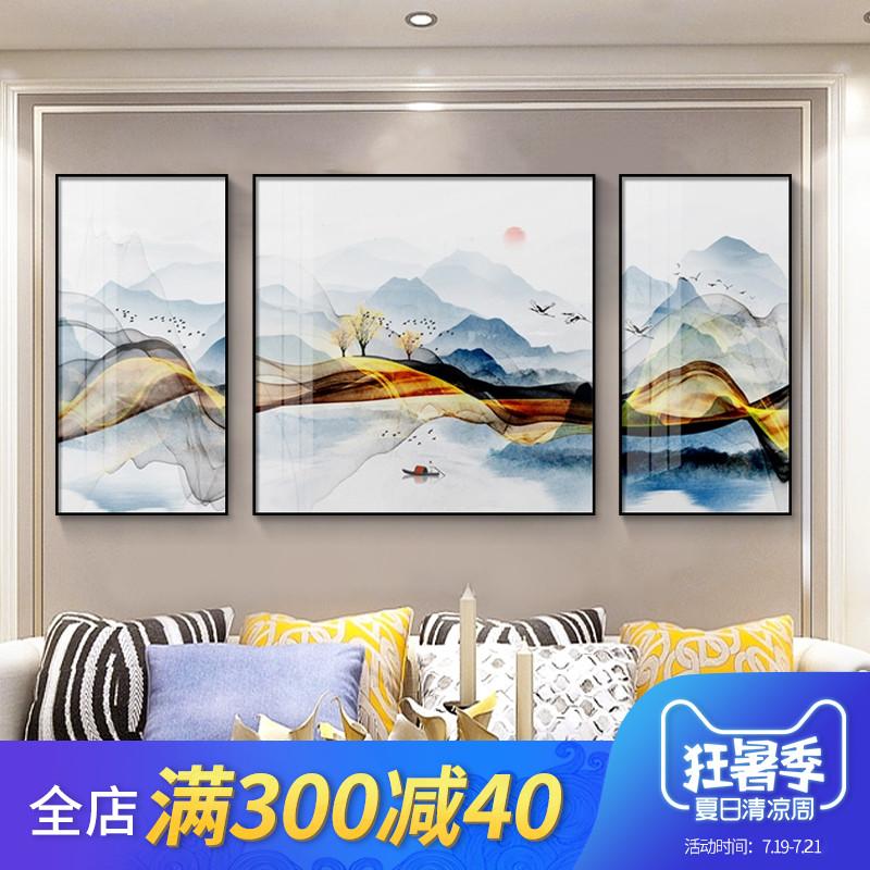 客厅装饰画沙发背景墙挂画三联画现代简约新中式高档大气山水壁画