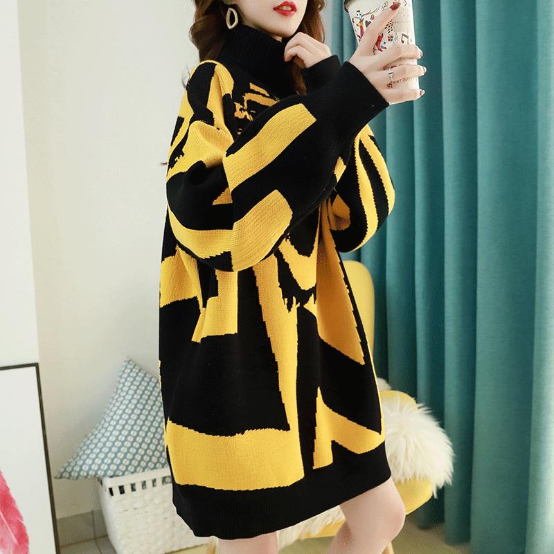 香港潮牌高领毛衣女中长款加厚打底衫秋冬季2020新款宽松外穿百搭