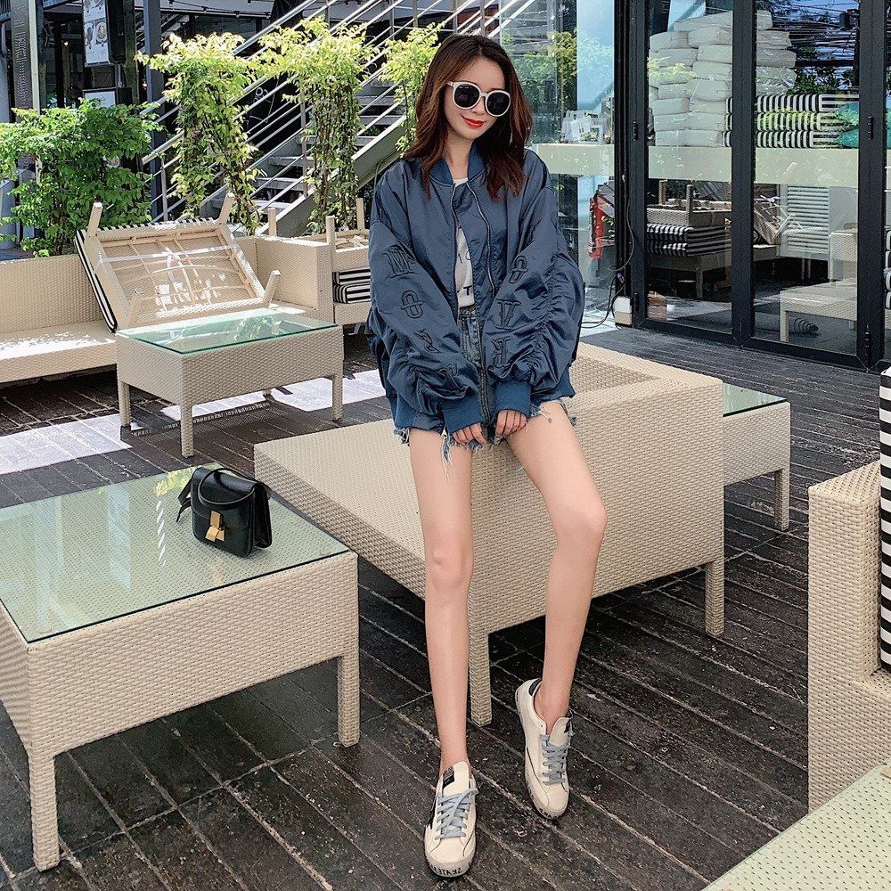 Spring and autumn 2020 new ins trend loose thin BF Embroidery Satin pilot jacket bomber coat women