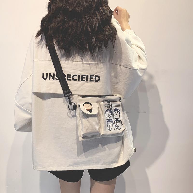 可爱小包包韩国ins日系原宿帆布包质感斜挎包女土酷学生单肩包潮