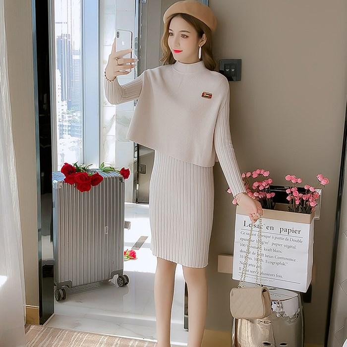 秋款裙子套装针织套裙女2019新款洋气打底两件套毛衣连衣裙女冬天
