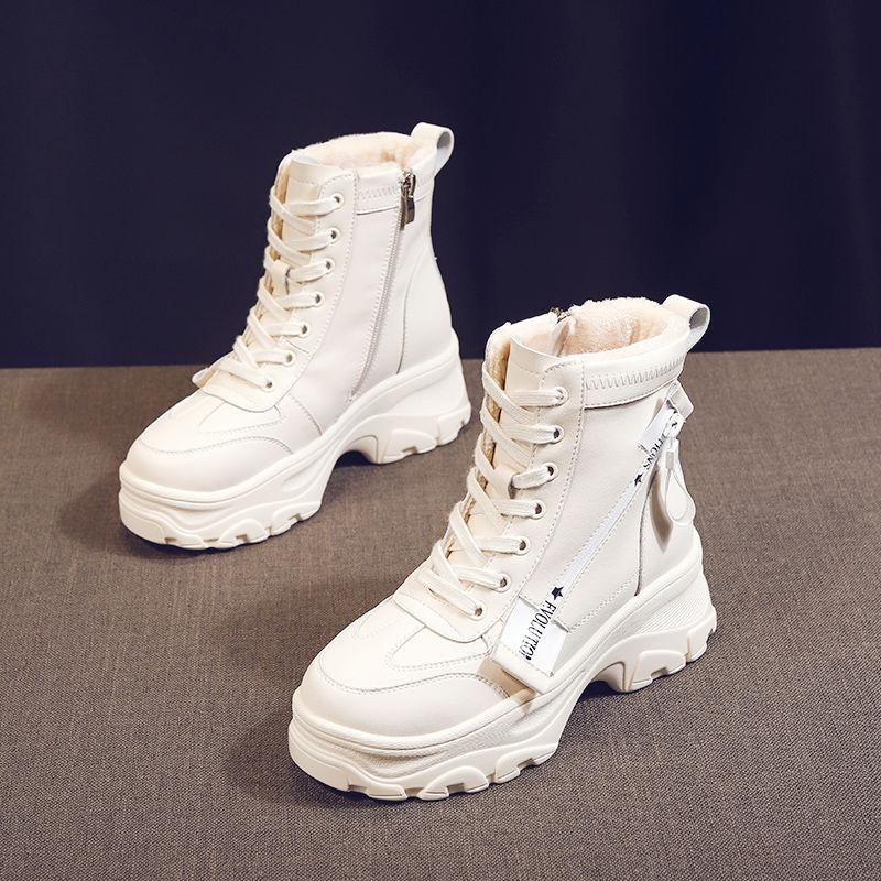雪地靴女2019新款秋冬季百搭加绒瘦瘦短靴棉鞋韩版网红厚底马丁靴