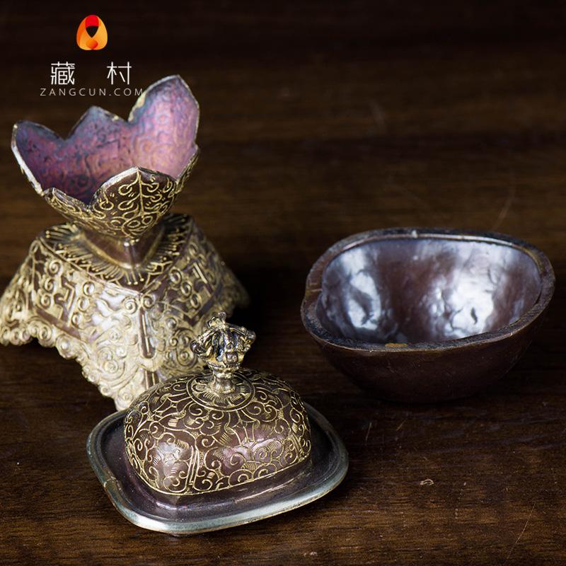 具嘎巴具雕花托碗灌12.5cm镀金巴托紫铜碗供顶器巴颅供啦藏传佛教