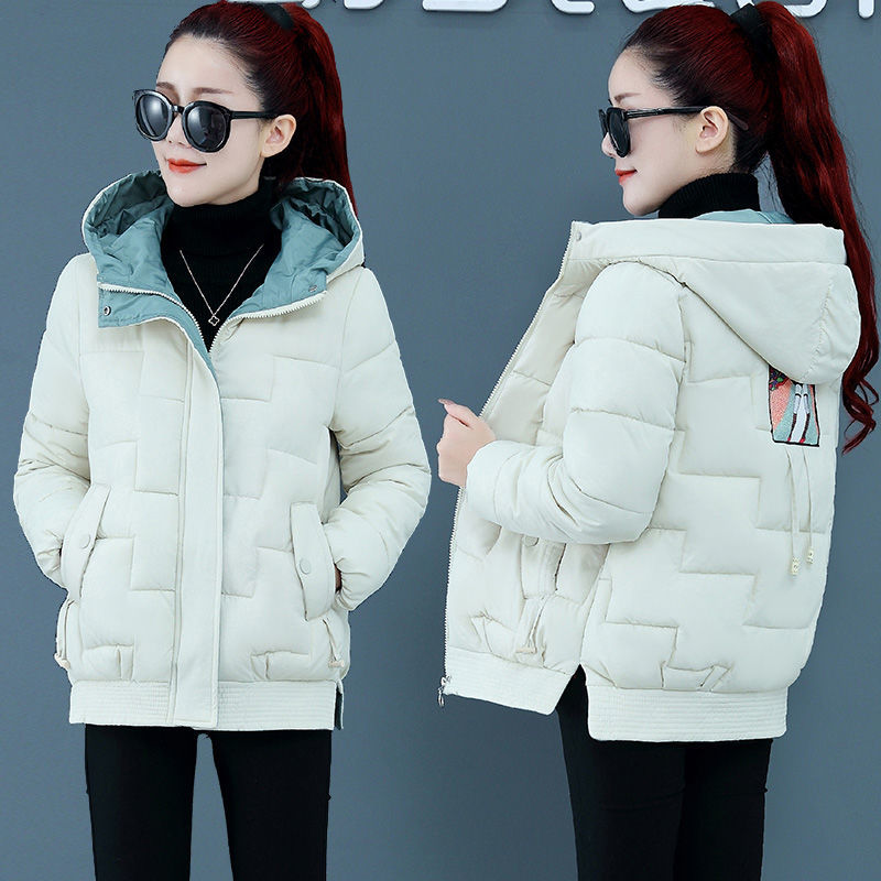 Fashionable short hooded down cotton padded jacket 2020 winter womens new cotton padded jacket cotton padded jacket loose thickened warm jacket