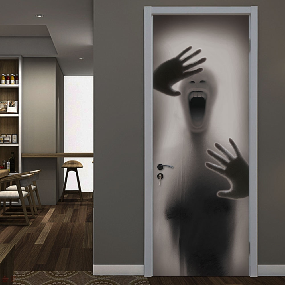 Mt282 blurred figure behind glass creative 3D door sticker personalized wooden door family decorative wall sticker