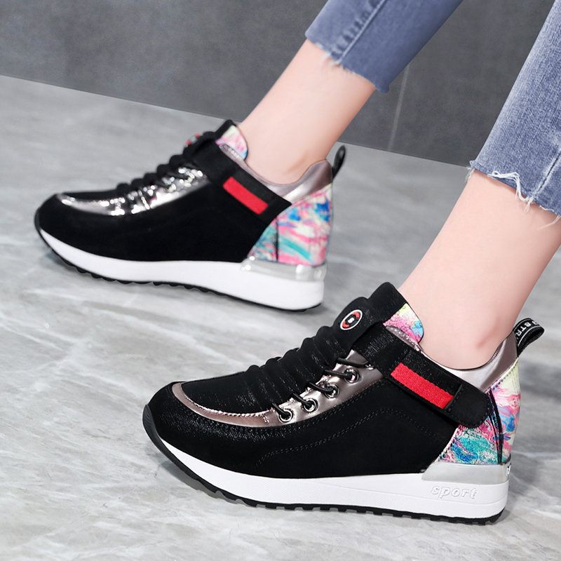 Taiwan Red Dragonfly Enterprise Co., Ltd. Rd thick bottom low top Velcro inner heightening leisure painted pattern womens shoes