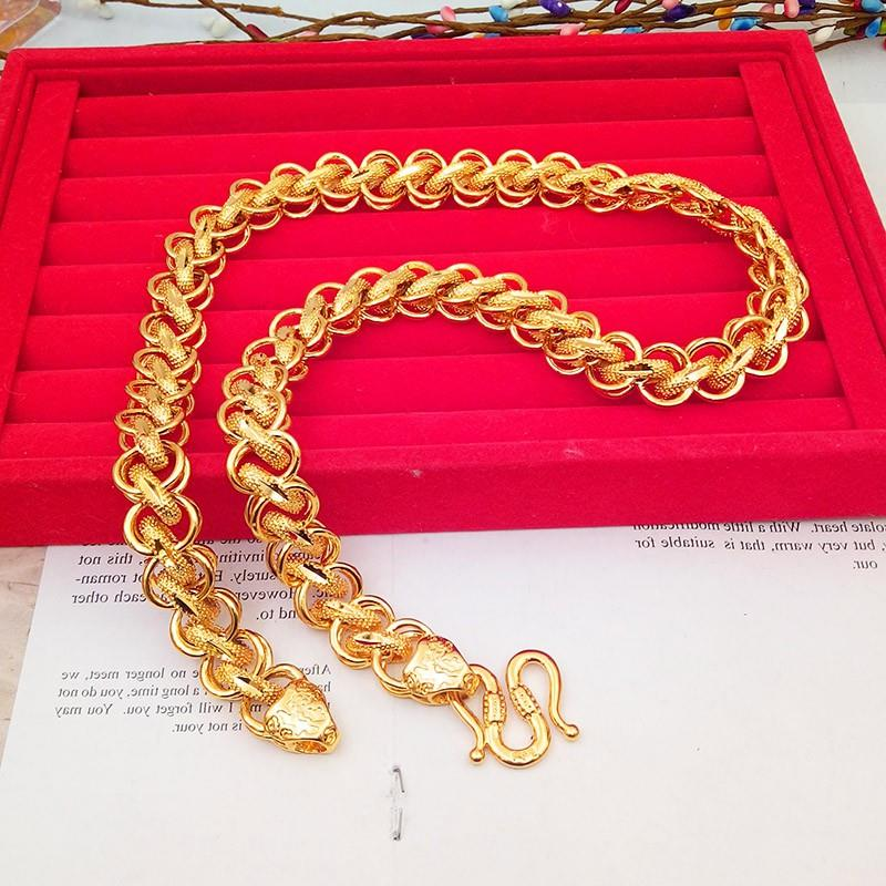 Lao Fengxiang domineering copper gilded Thai chain gold colored thick imitation Vietnamese sand gold necklace mens big gold chain