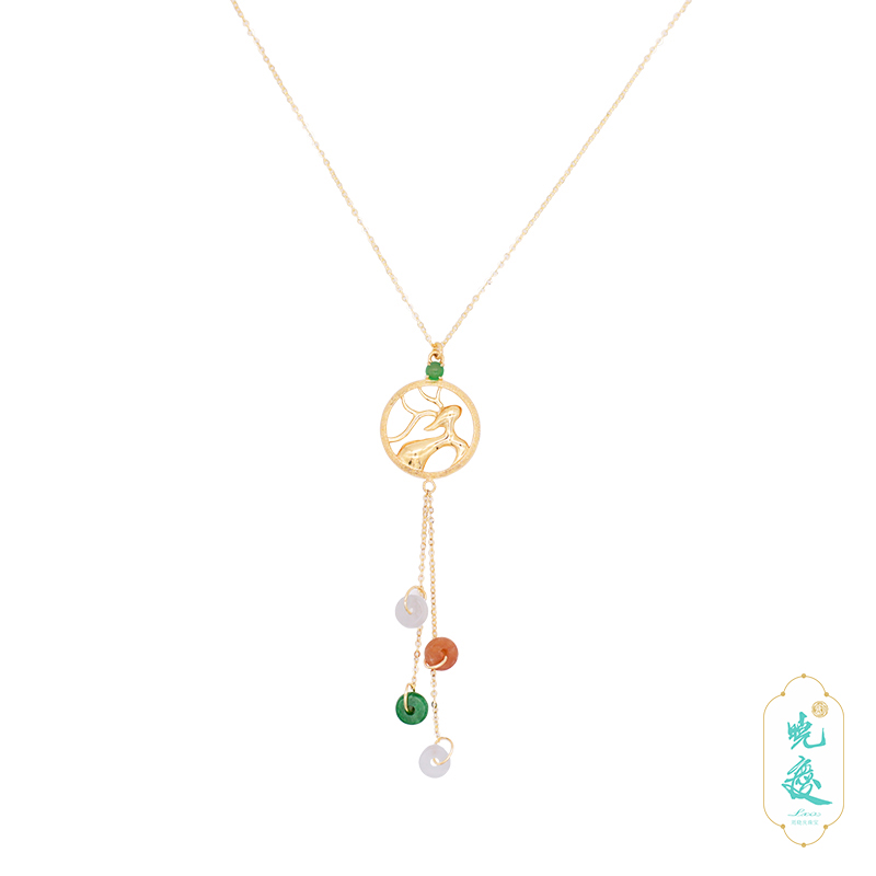 [lujiajia] Liu Xiaoqing recommends natural A-type jadeite 18K golden face ice tricolor jadeite Necklace