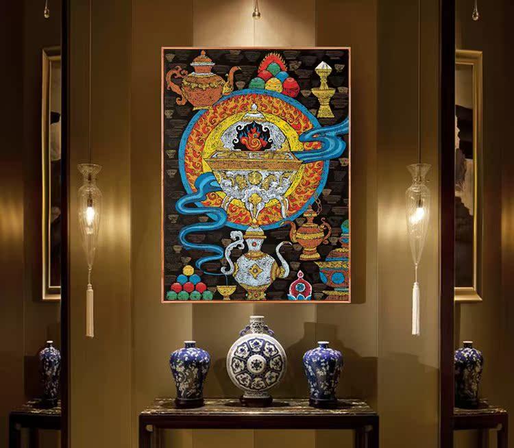 藏族祥巴版画民族风装饰画 西藏餐吧饭店客栈墙画 佛教用品店壁画