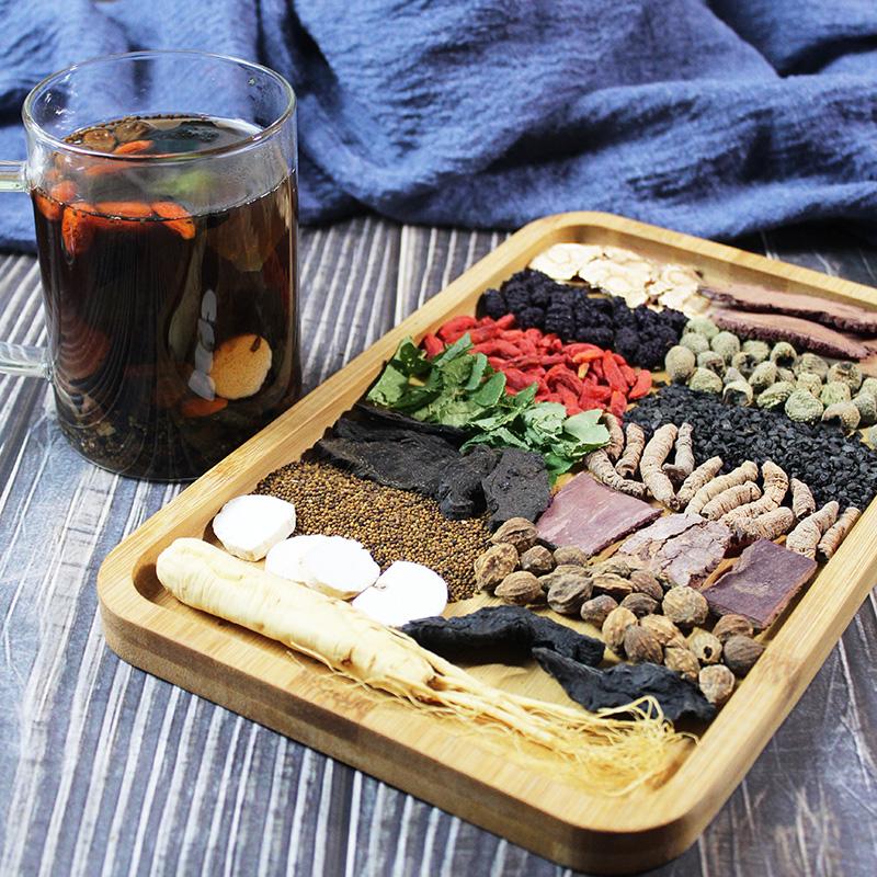 Mens five treasures tea, Cistanche deserticola, Huangjing combination, ginseng, ten treasures health tea, medlar tea, tea making