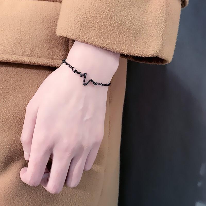 男士手镯韩国简约韩版甜美学生清新手链女情侣日韩个姓心电图手环