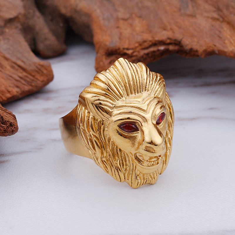 Punks ring ring ring titanium steel domineering red eye lion head European and American fashion rock hip hop jewelry gold man