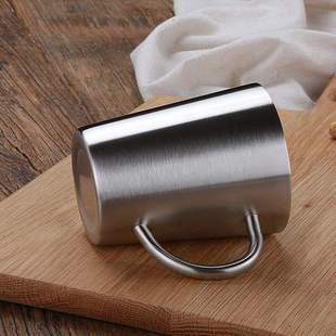 304不鏽鋼雙層馬克杯野獸派杯子咖啡杯隔熱防燙辦公水杯冷飲口杯