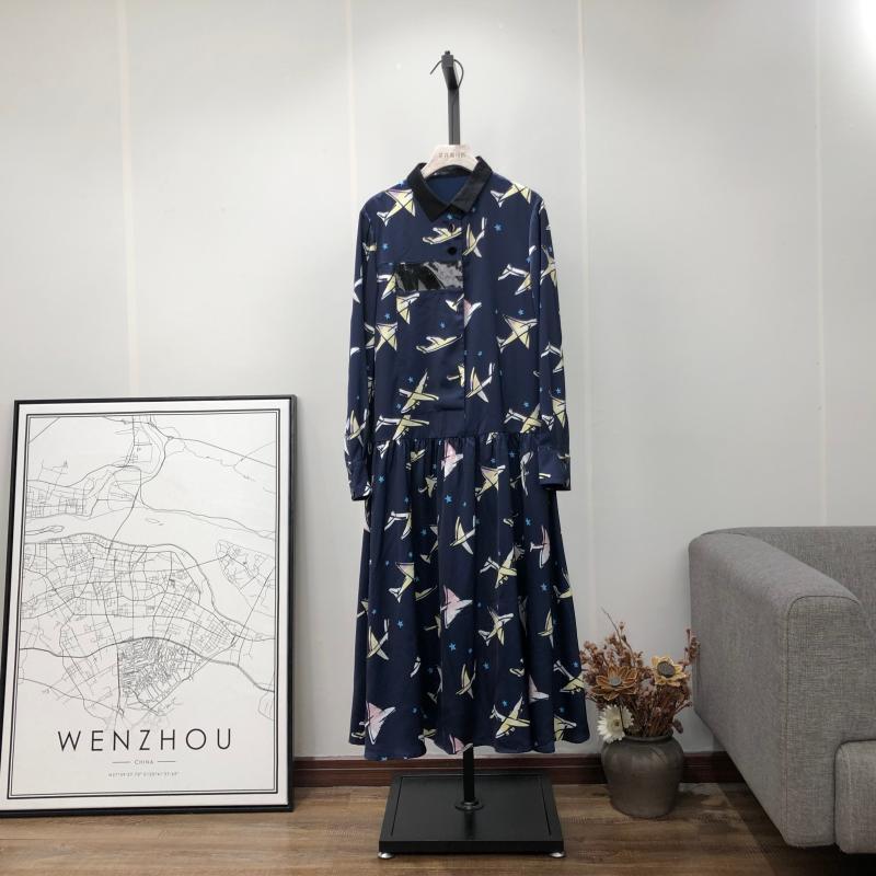 花开温州店 女装翻领拼接长袖裙子显瘦垂感中长款气质连衣裙B3