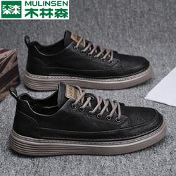 木林森皮鞋男休闲潮鞋春秋季男鞋2021年新款黑色百搭韩版平底板鞋