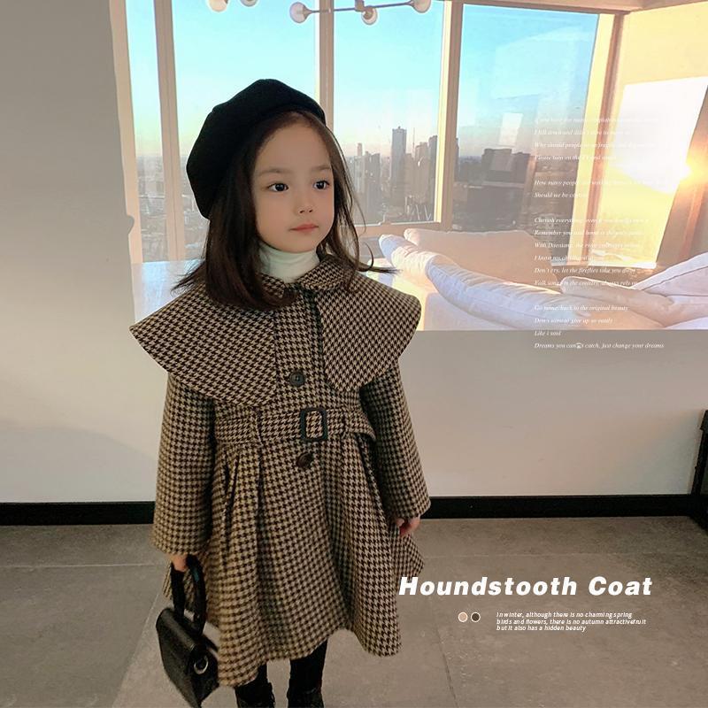 女童时尚气质千鸟格小洋装夹棉斗篷大衣儿童英伦风格外套宝宝夹克