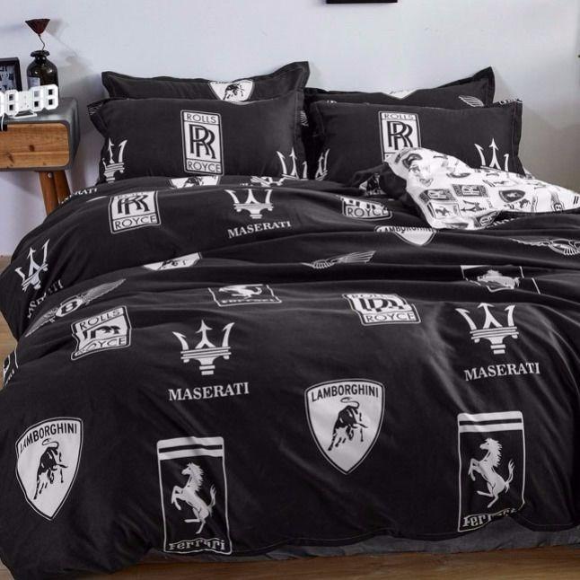 ins网红黑色车之梦四件套床上用品床单双人1.8被套学生宿舍三件套