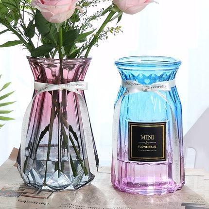 客厅北欧水培玻璃花瓶透明清仓百合富贵竹满天星干花小插花瓶摆件