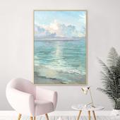 手绘抽象油画玄关竖版装饰画现代简约北欧唯美天空挂画广阔海洋