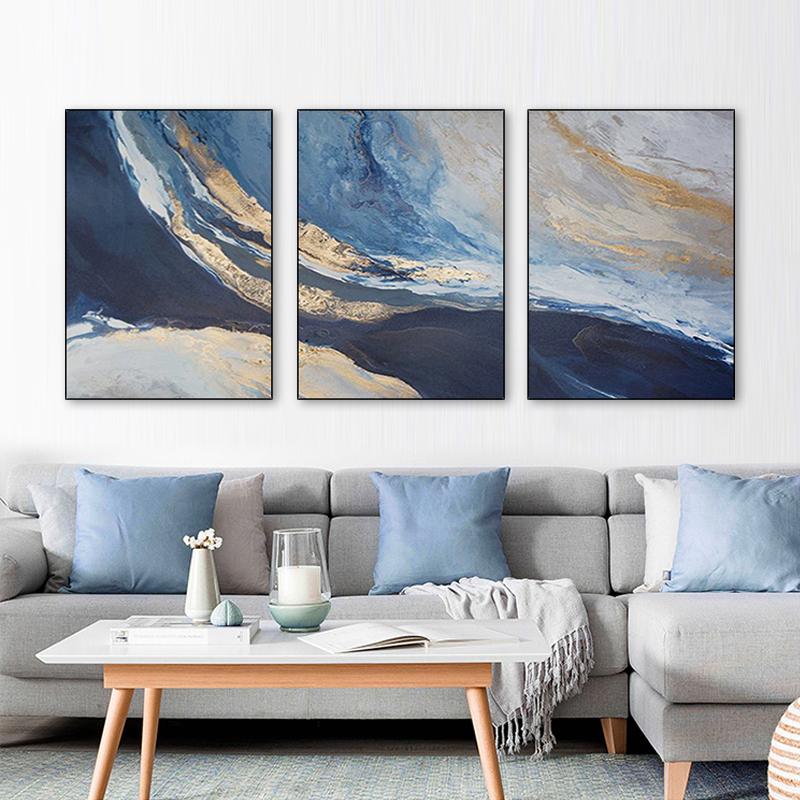 手绘抽象油画现代简约金色天空染画北欧三联客厅沙发挂画装饰画图片