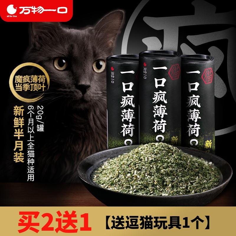 万物一口猫零食猫薄荷 猫草薄荷粉20g草本排毛清洁口腔猫咪猫罐头