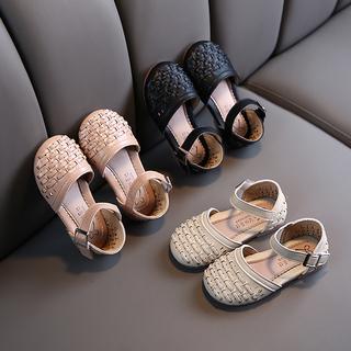 女童包头凉鞋时尚编织公主鞋2020夏新款软底防滑小皮鞋韩版沙滩鞋