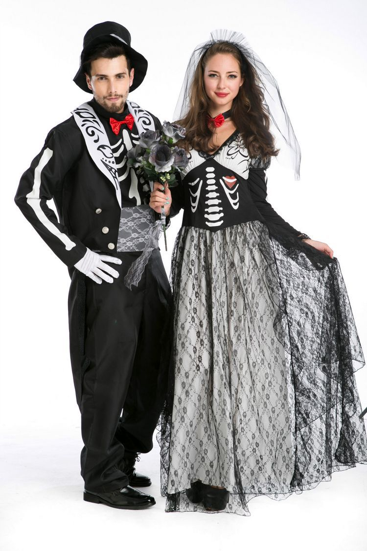 Halloween game costume actual photo skull zombie couple suit ghost Bride Costume role play dance platform Costume