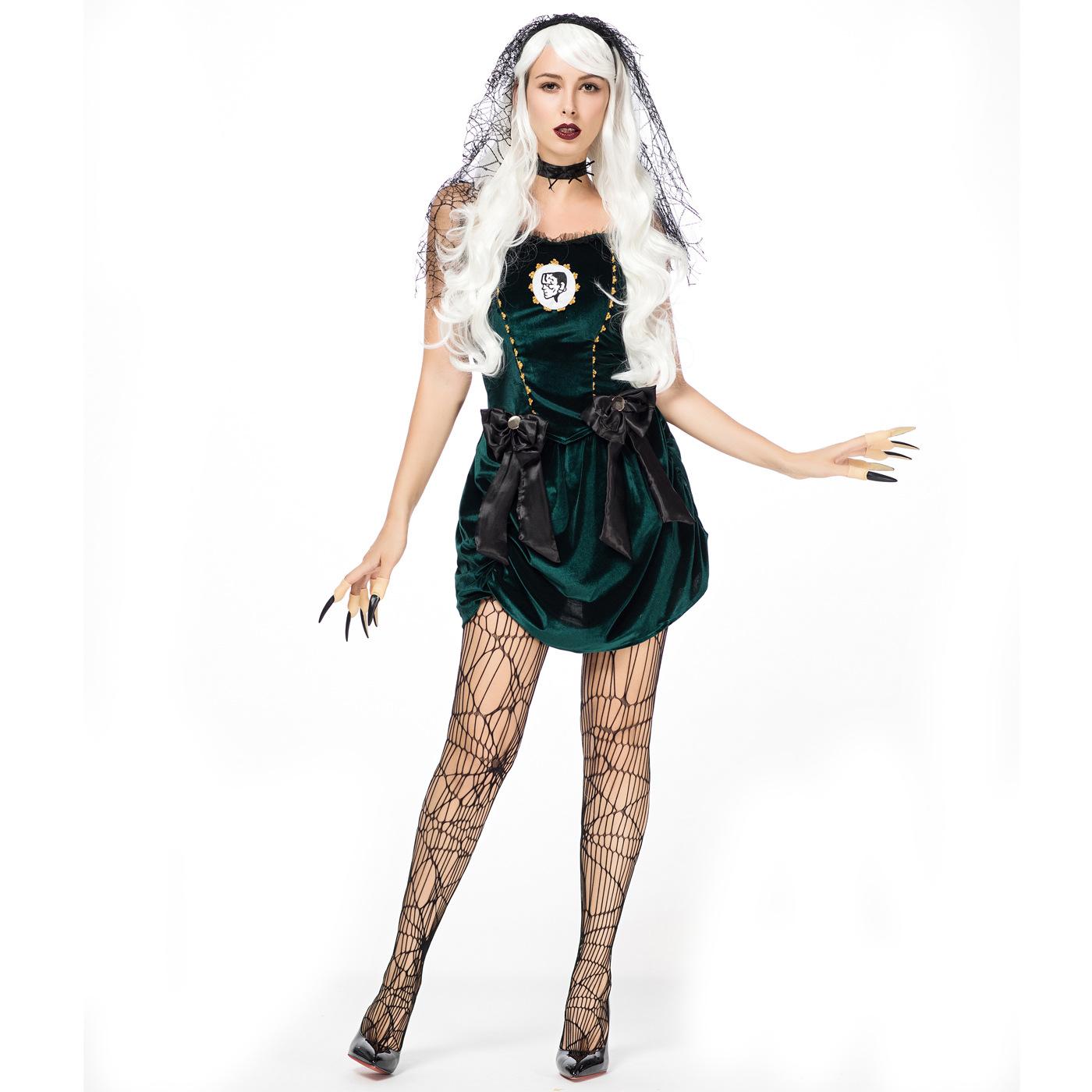 ハロウィンの服の鬼の新婦のコスプレの役は服の吸血鬼の悪魔の服装の緑色を演じます。