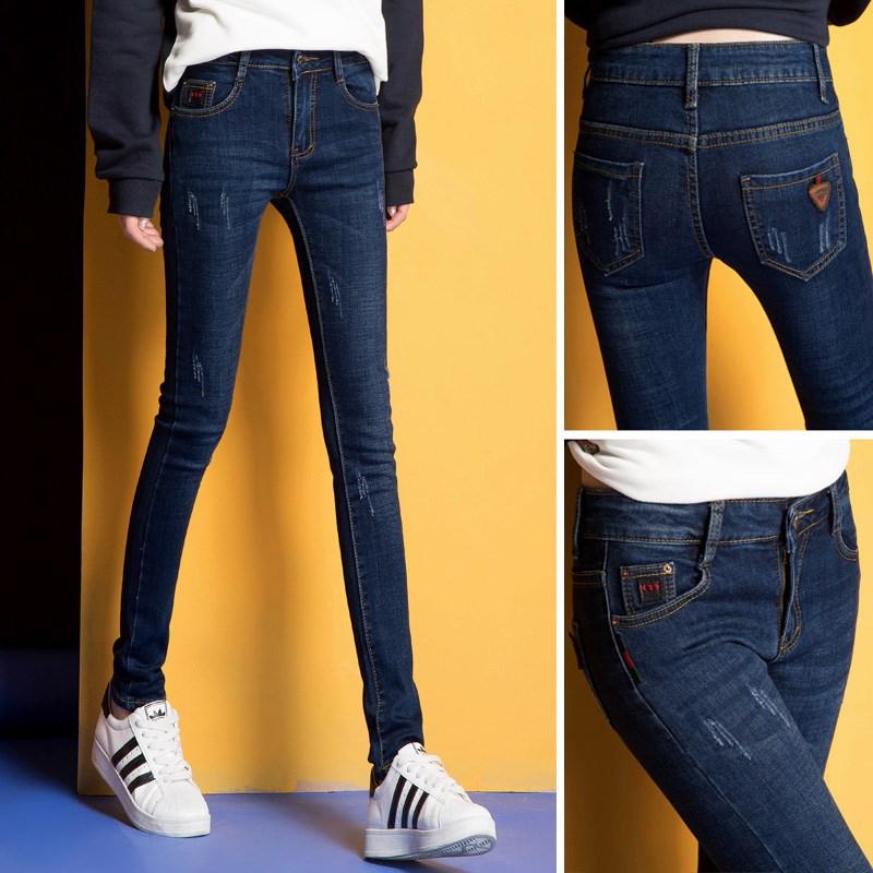 新款女式牛仔裤春秋百搭2019女士韩版女装显瘦弹力紧身小脚长裤子