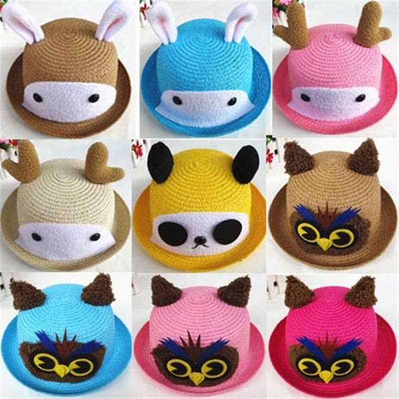 韩版儿童动物造型帽小鹿猫头鹰卡通草帽盆帽宝宝沙滩帽太阳帽子