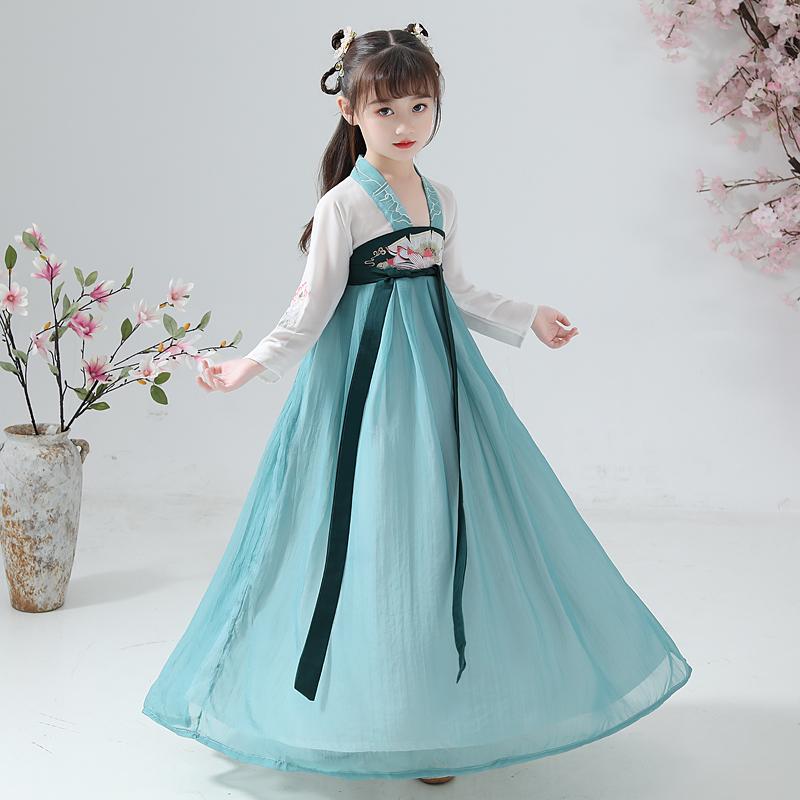 汉服女童12-15岁儿童古装小女孩襦裙中国风刺绣唐装宝宝演出服装