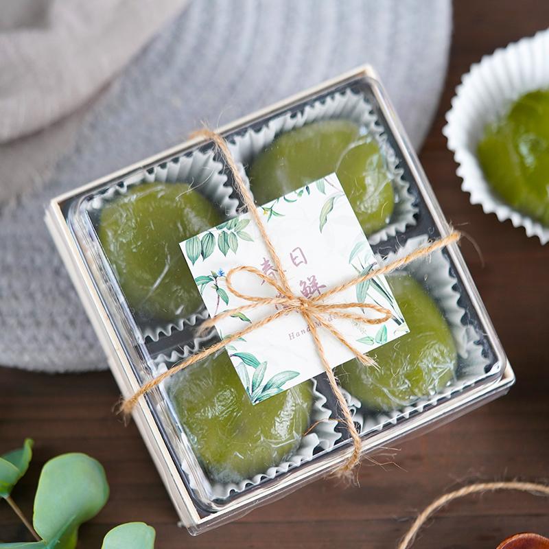 4粒木质 透明青团 雪媚娘 绿豆糕冰糕 简易吸塑盒 蛋黄酥包装盒子