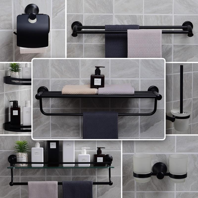 黑色不锈钢北欧浴巾架卫生间壁挂(非品牌)