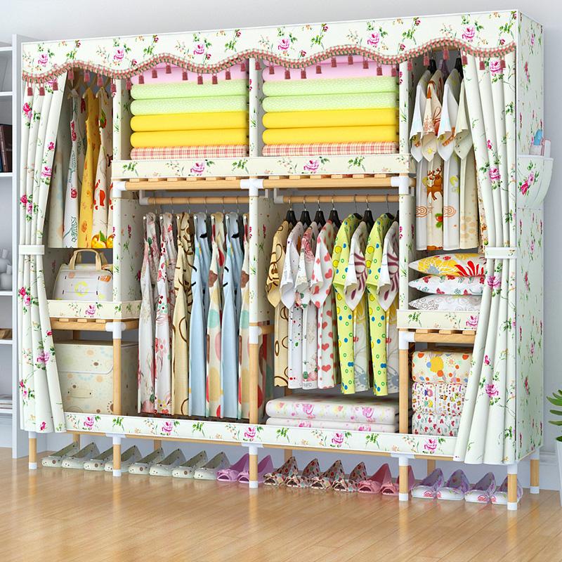 衣柜简易布衣柜家用卧室实木牛津布出租房用组装简约现代收纳衣橱