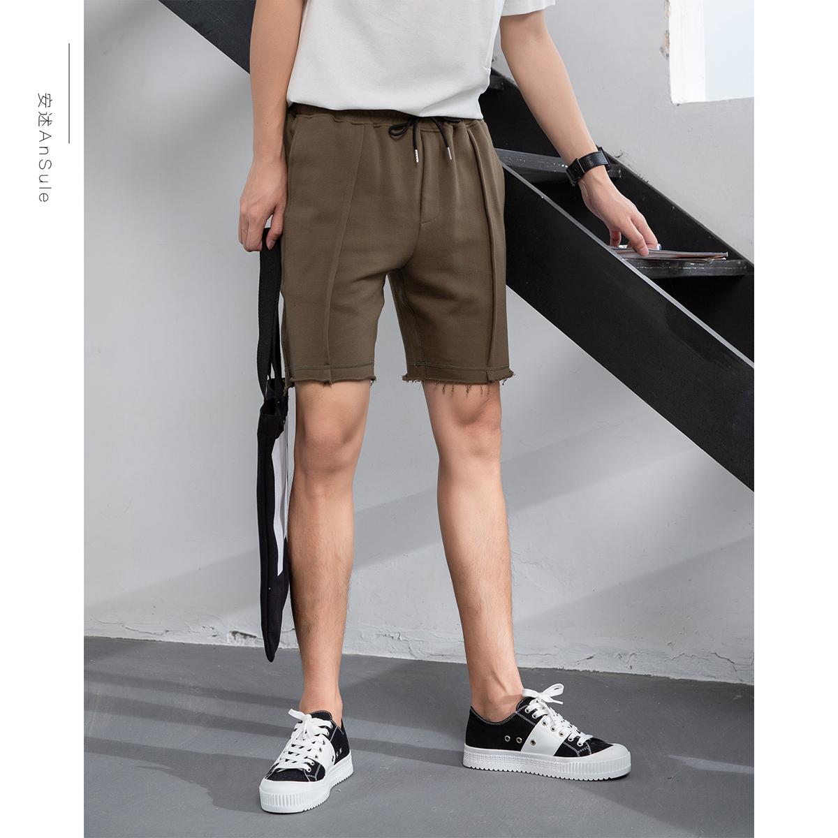 安述 2019纯色休闲短裤 男式韩版橡筋运动五分裤 不规则下摆短裤