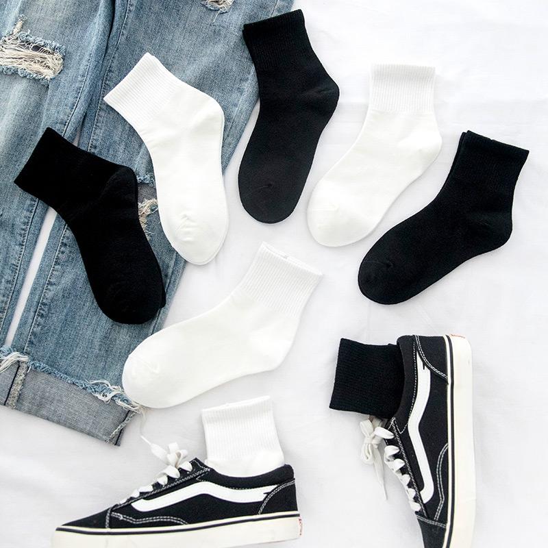 黑色袜子女中筒袜潮ins长袜男韩版纯色夏季网红长筒袜白色薄款夏满36.80元可用22元优惠券